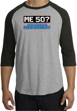 Image of 50th Birthday Raglan Shirt - Funny Me 50 Years Heather Grey/Black Tee
