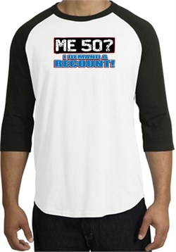 Image of 50th Birthday Raglan Shirt - Funny Me 50 Years White/Black Tee Shirt