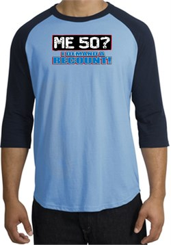Image of 50th Birthday Raglan Shirt Funny Me 50 Years Carolina Blue/Navy Tee