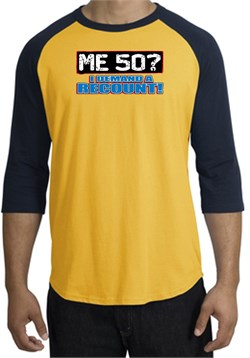 Image of 50th Birthday Raglan Shirt - Funny Me 50 Years Gold/Navy Tee Shirt
