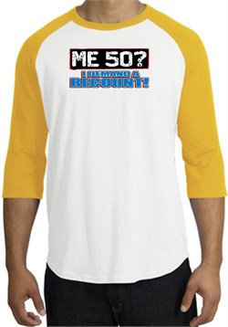 Image of 50th Birthday Raglan Shirt - Funny Me 50 Years White/Gold Tee Shirt