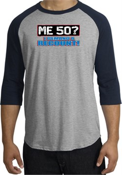 Image of 50th Birthday Raglan Shirt Funny Me 50 Years Heather Grey/Navy Tee
