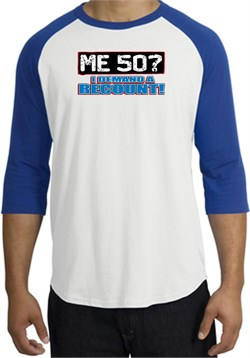 Image of 50th Birthday Raglan Shirt Funny Me 50 Years White/Royal Tee Shirt