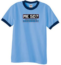 Image of 50th Birthday Ringer T-shirt Funny Me 50 Years Carolina Blue/Navy Tee