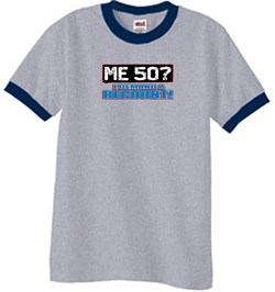 Image of 50th Birthday Ringer T-shirt Funny Me 50 Years Heather Grey/Navy Tee