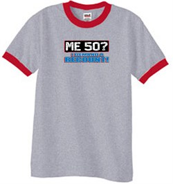 Image of 50th Birthday Ringer T-shirt Funny Me 50 Years Heather Grey/Red Tee