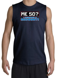 Image of 50th Birthday Shooter - Funny Me 50 Years Adult Navy Muscle Shirt