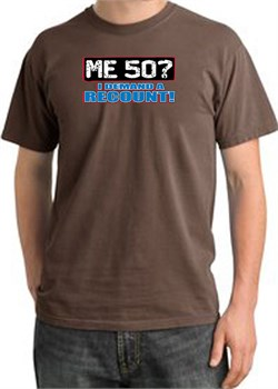 Image of 50th Birthday Pigment Dyed T-Shirt - Me 50 Years Chestnut Shirt