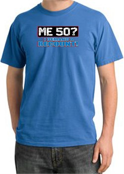 Image of 50th Birthday Pigment Dyed T-Shirt - Me 50 Years Medium Blue Shirt