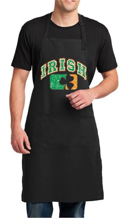 Image of Mens Apron Distressed Irish Shamrock Full Length Apron with Pockets
