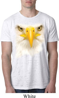 Image of Mens Bald Eagle Shirt Big Bald Eagle Face White Burnout T-Shirt