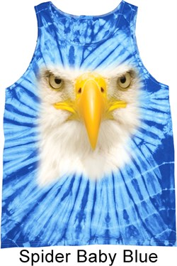 Image of Mens Bald Eagle Tanktop Big Bald Eagle Face Tie Dye Tank Top