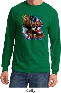 Image of Mens Biker Shirt American By Birth Long Sleeve Tee