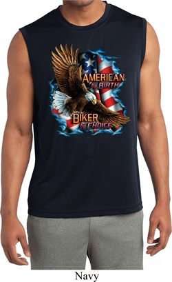 Image of Mens Biker Shirt American By Birth Sleeveless Moisture Wicking Tee