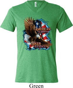 Image of Mens Biker Shirt American By Birth Tri Blend V-neck Tee