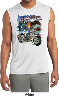 Image of Mens Biker Shirt American Steel Sleeveless Moisture Wicking Tee