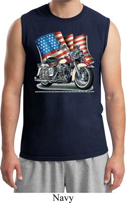 Mens Biker Shirt Motorcycle Flag Muscle Tee T-Shirt