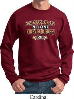 Image of Mens Biker Sweatshirt Gas Grass Or Ass Sweat Shirt