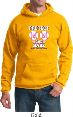 Image of Mens Breast Cancer Awareness Hoodie Protect 2nd Base Hoody