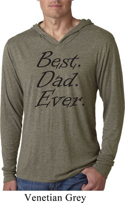 Mens Dad Shirt Best Dad Ever Black Print Lightweight Hoodie T-Shirt