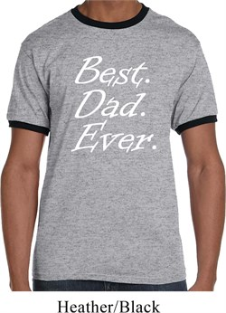 Mens Dad Shirt Best Dad Ever White Print Ringer Tee T-Shirt