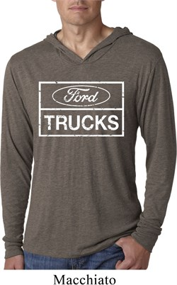 Image of Mens Distressed Ford Trucks Lightweight Hoodie Shirt