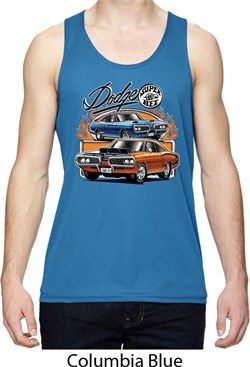 Image of Mens Dodge Blue and Orange Super Bee Dry Wicking Tank Top