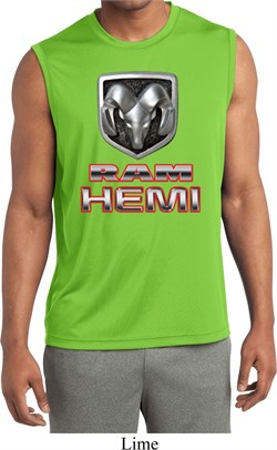Image of Mens Dodge Shirt Ram Hemi Logo Sleeveless Moisture Wicking Tee T-Shirt
