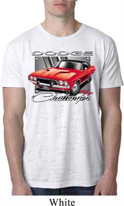 Mens Dodge Shirt Red Challenger White Burnout Tee T-Shirt