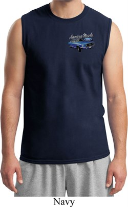 Mens Ford American Muscle 1967 Mustang Pocket Print Muscle Shirt