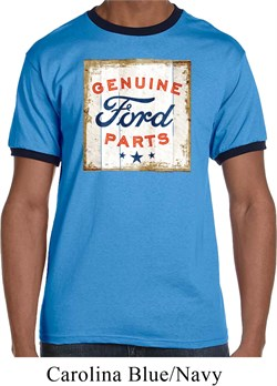 Image of Mens Ford Shirt Distressed Genuine Ford Parts Ringer Tee T-Shirt