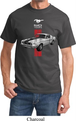 Image of Mens Ford Shirt Red Stripe Mustang 50 Years Tee T-Shirt