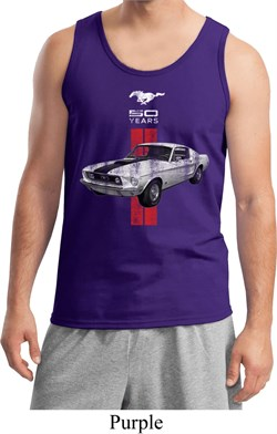 Image of Mens Ford Tanktop Red Stripe Mustang 50 Years Tank Top
