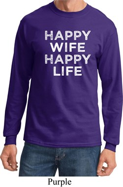 Image of Mens Funny Shirt Happy Wife Happy Life Long Sleeve Tee T-Shirt