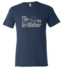 Mens Funny Shirt The Grill Father Tri Blend V-neck Tee T-Shirt