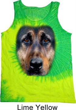 Image of Mens German Shepherd Tanktop Big German Shepherd Face Tie Dye Tank Top