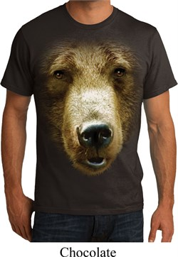 Image of Mens Grizzly Bear Shirt Big Grizzly Bear Face Organic T-Shirt