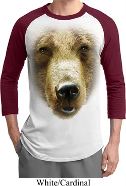 Image of Mens Grizzly Bear Shirt Big Grizzly Bear Face Raglan Tee T-Shirt
