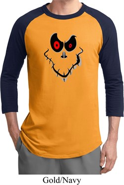Mens Halloween Shirt Ghost Face Raglan Tee T-shirt