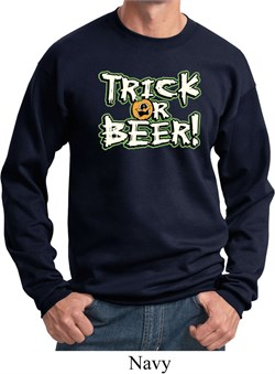 Image of Mens Halloween Sweatshirt Trick Or Beer Sweat Shirt
