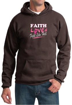 Image of Mens Hoodie Breast Cancer Awareness Faith Love Fight Hoody