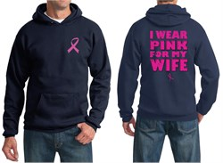Image of Mens Hoodie Pink Ribbon Pink For My Wife Front & Back Print Hoody