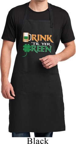 Image of Mens Irish Apron Drink Til Yer Green Full Length Apron with Pockets