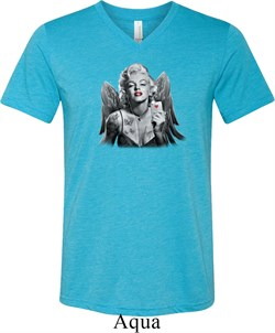 Mens Marilyn Monroe Shirt Butterfly Tri Blend V-neck Tee T-Shirt