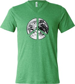 Mens Peace Shirt Peace Earth Tri Blend V-neck Tee T-Shirt