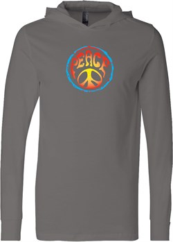 Image of Mens Peace Shirt Psychedelic Peace Lightweight Hoodie Tee