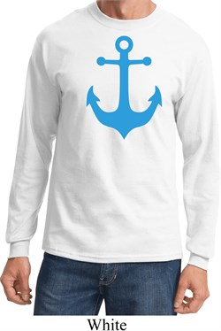 Mens Sailing Shirt Blue Anchor Long Sleeve Tee T-Shirt