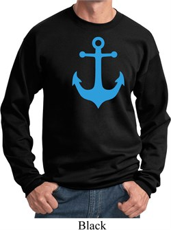 Mens Sailing Sweatshirt Blue Anchor Sweat Shirt