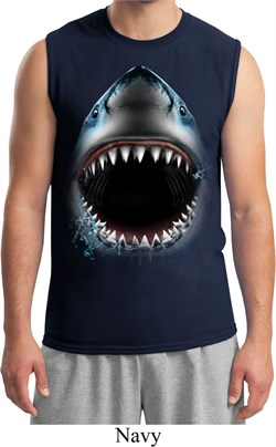 Mens Shark Shirt Big Shark Face Muscle Tee T-Shirt