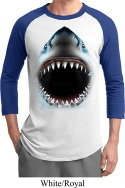 Mens Shark Shirt Big Shark Face Raglan Tee T-Shirt